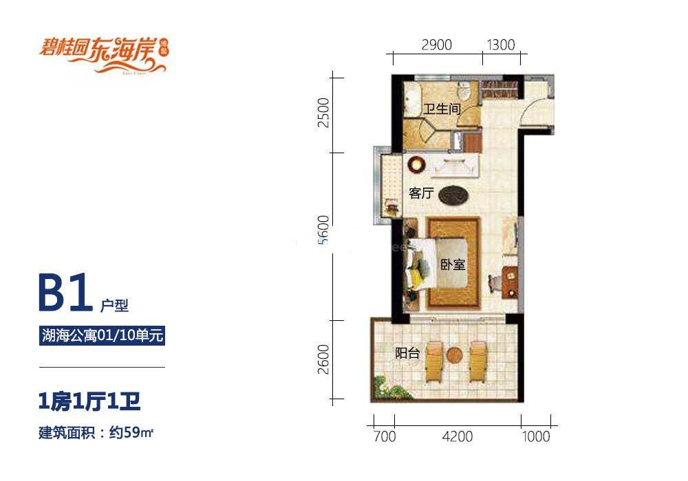 B1户型 1房1厅1卫 建面59㎡