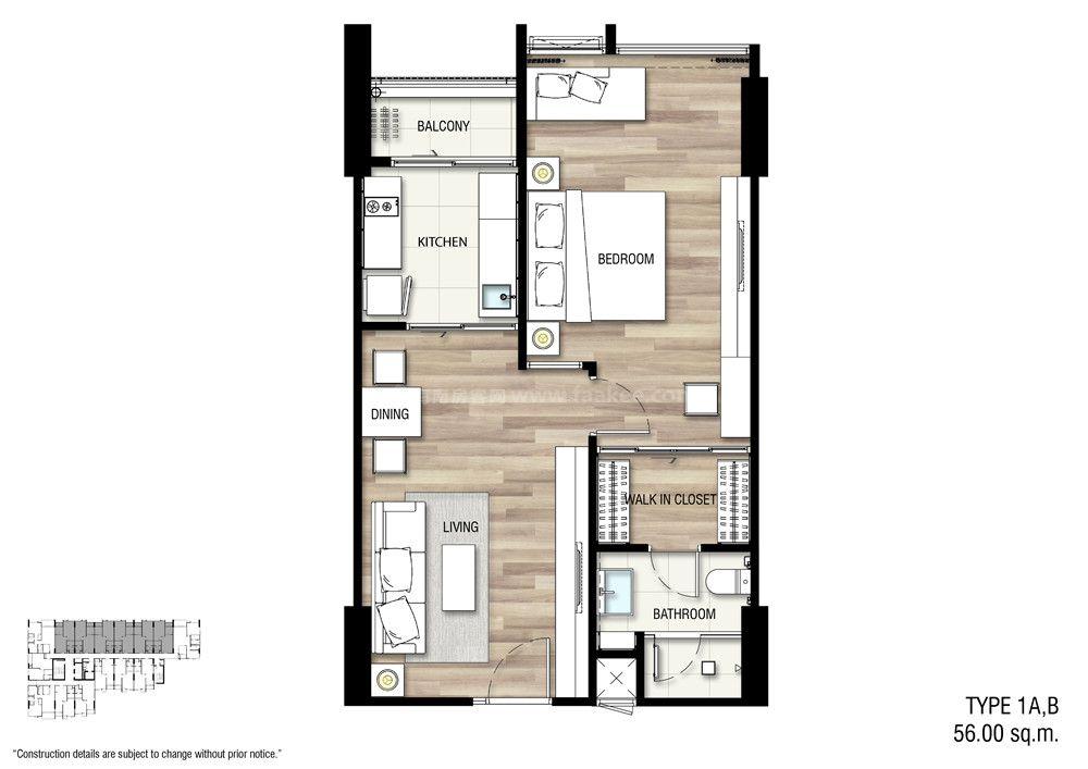 1A,B 一室一厅一卫 建面:56㎡