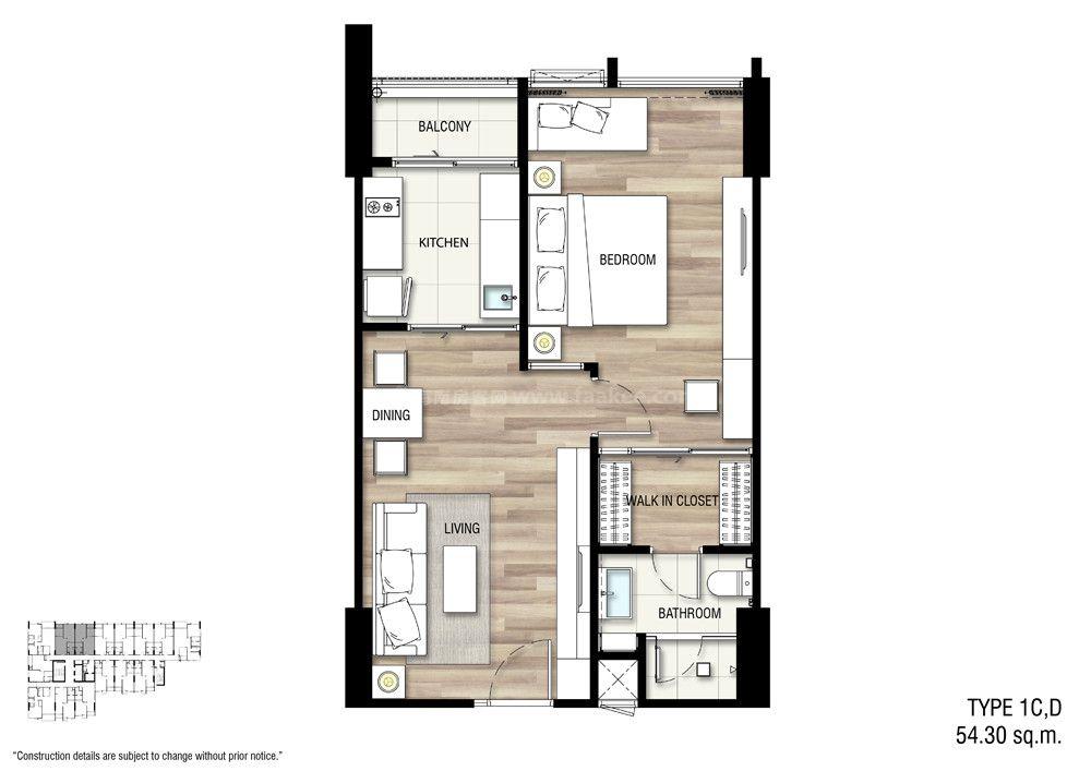 1C,D 一室一厅一卫 建面:54.3㎡