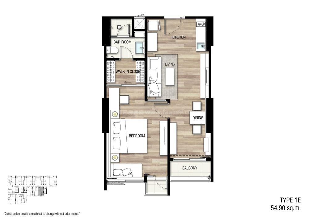1E 一室一厅一卫 建面:54.9㎡