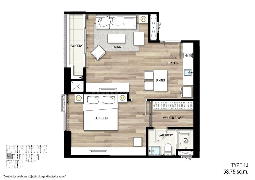 1J 一室一厅一卫 建面:53.75㎡