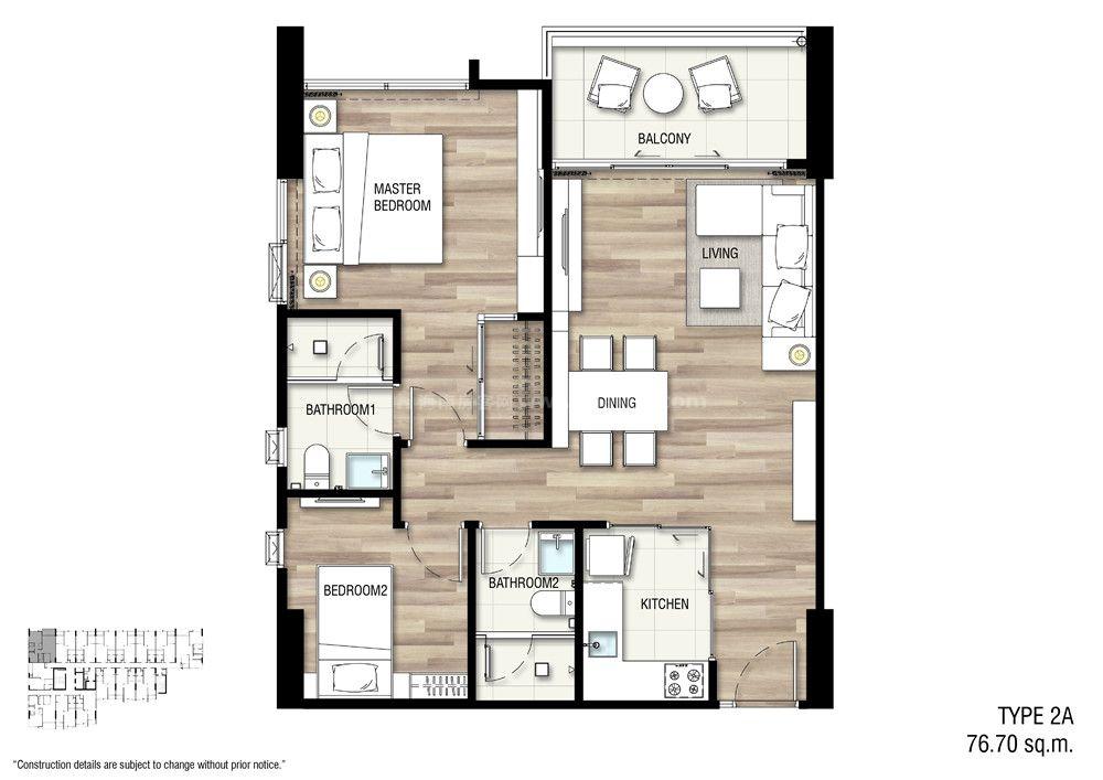 2A 两室一厅两卫 建面:76.70㎡