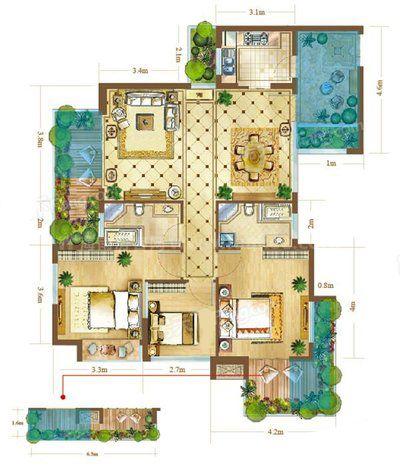 5-7#B1、B2户型 2室2厅2卫1厨 建筑面积117.88㎡