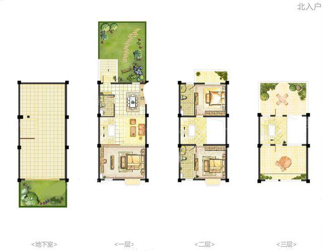 海螺墅C4-C户型半中间套 2室3厅3卫1厨 建面109.00㎡