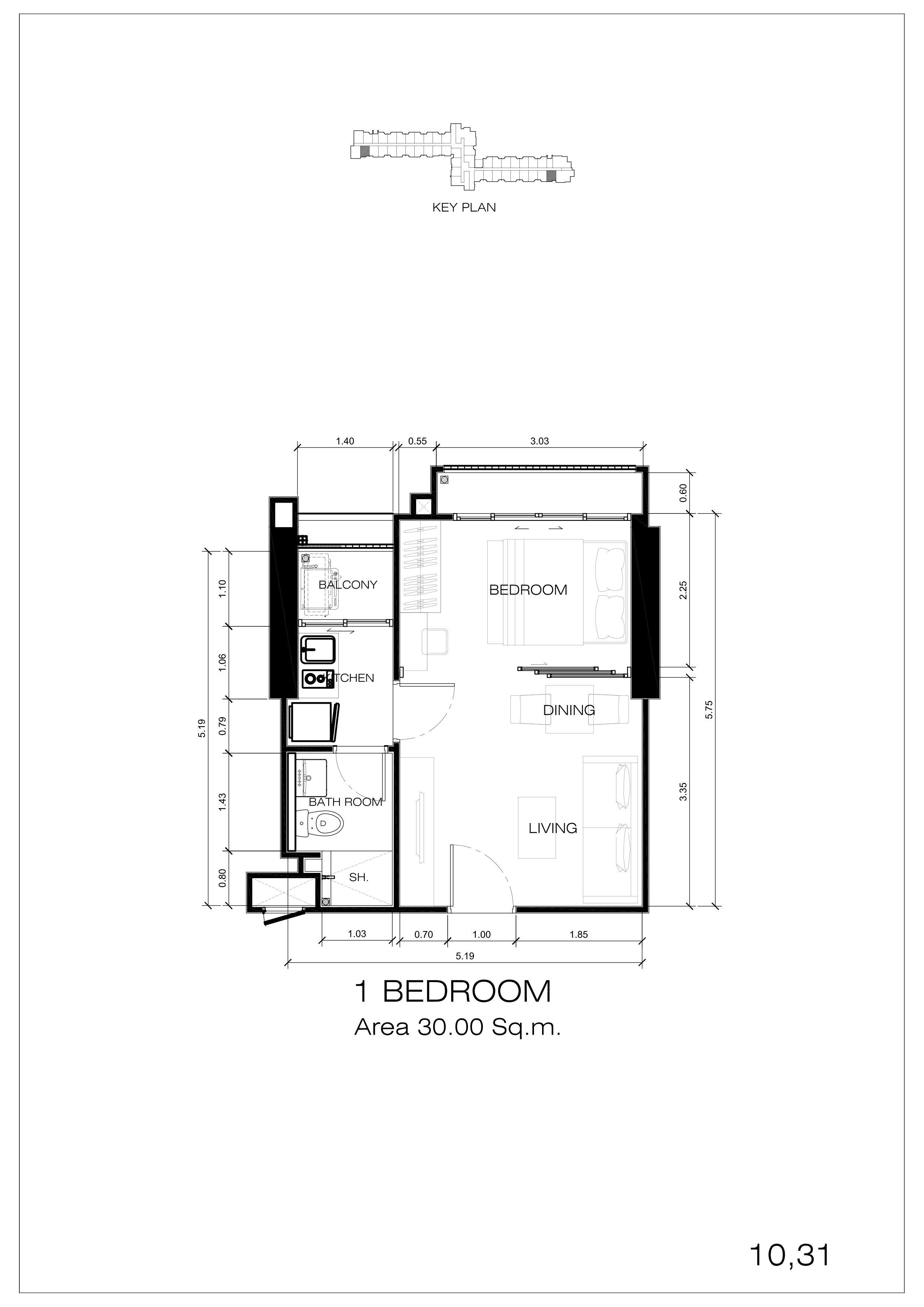 10,31户型 一室一厅一卫 建面:30㎡