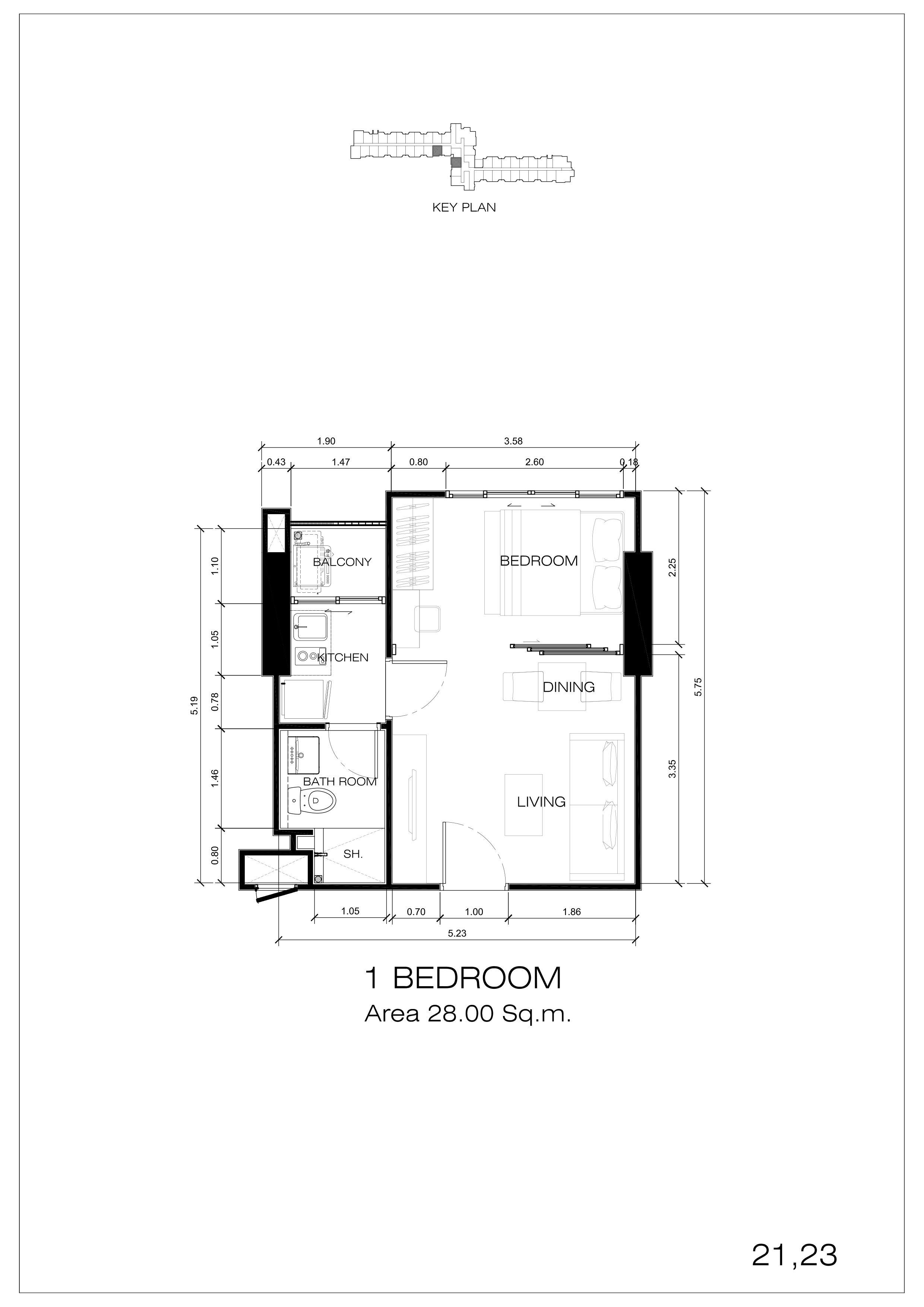 21,23户型 一室一厅一卫 建面:28㎡