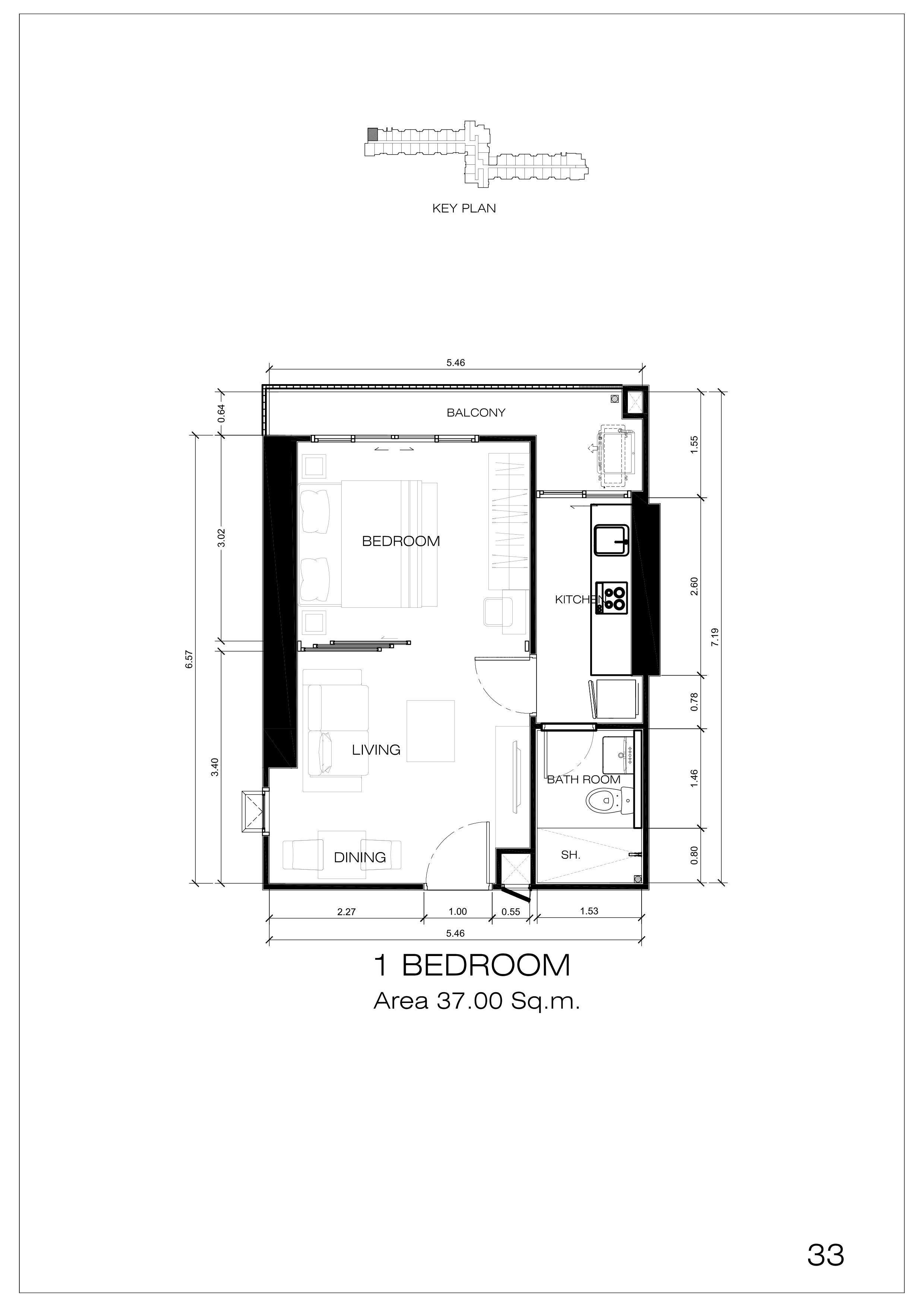 33户型 一室一厅一卫 建面:37㎡