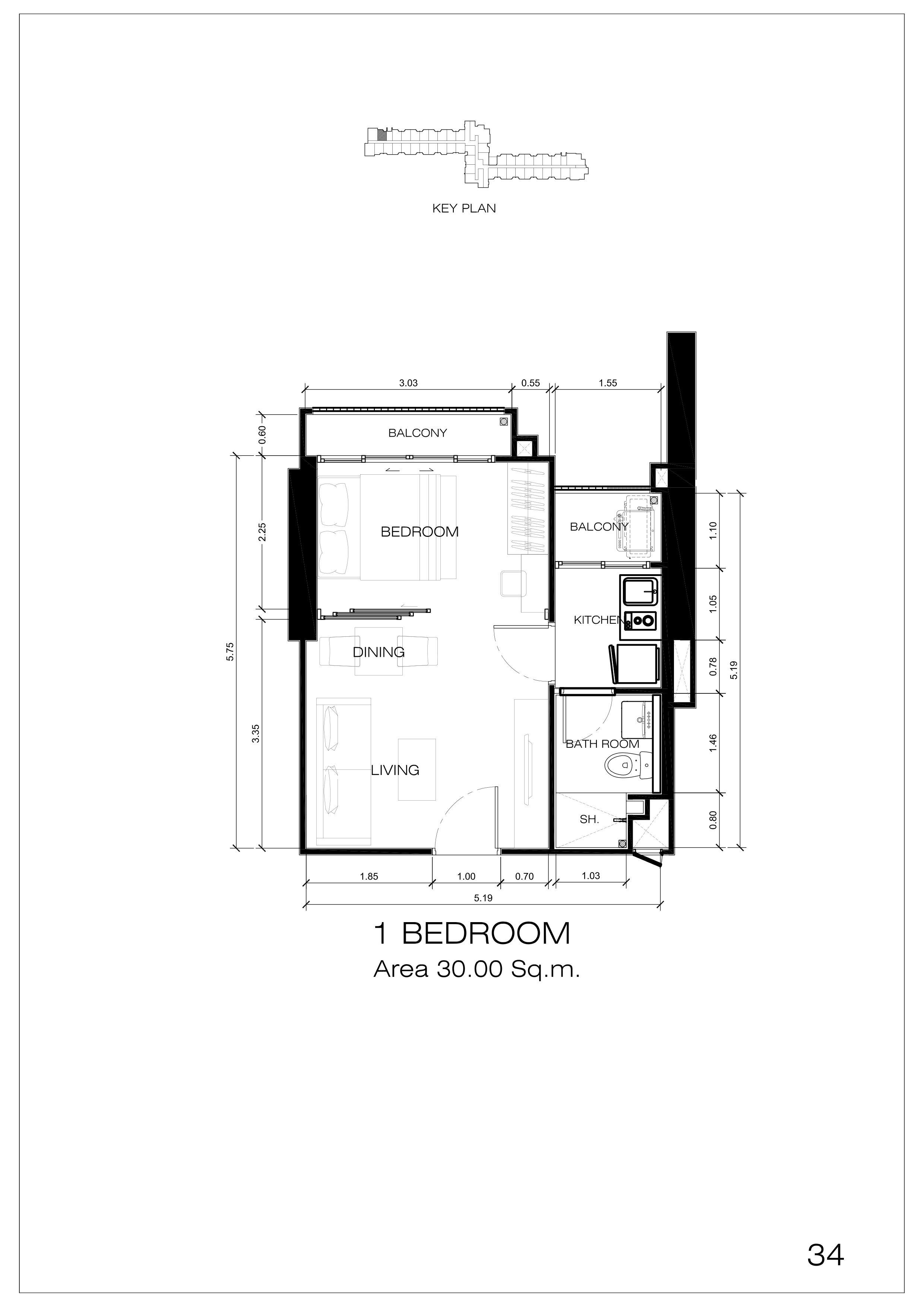 34户型 一室一厅一卫 建面:30㎡