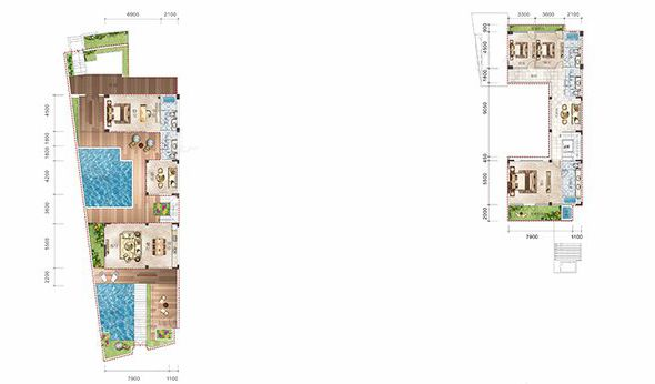 双拼B户型 5室3厅5卫1厨  建筑面积139.44㎡