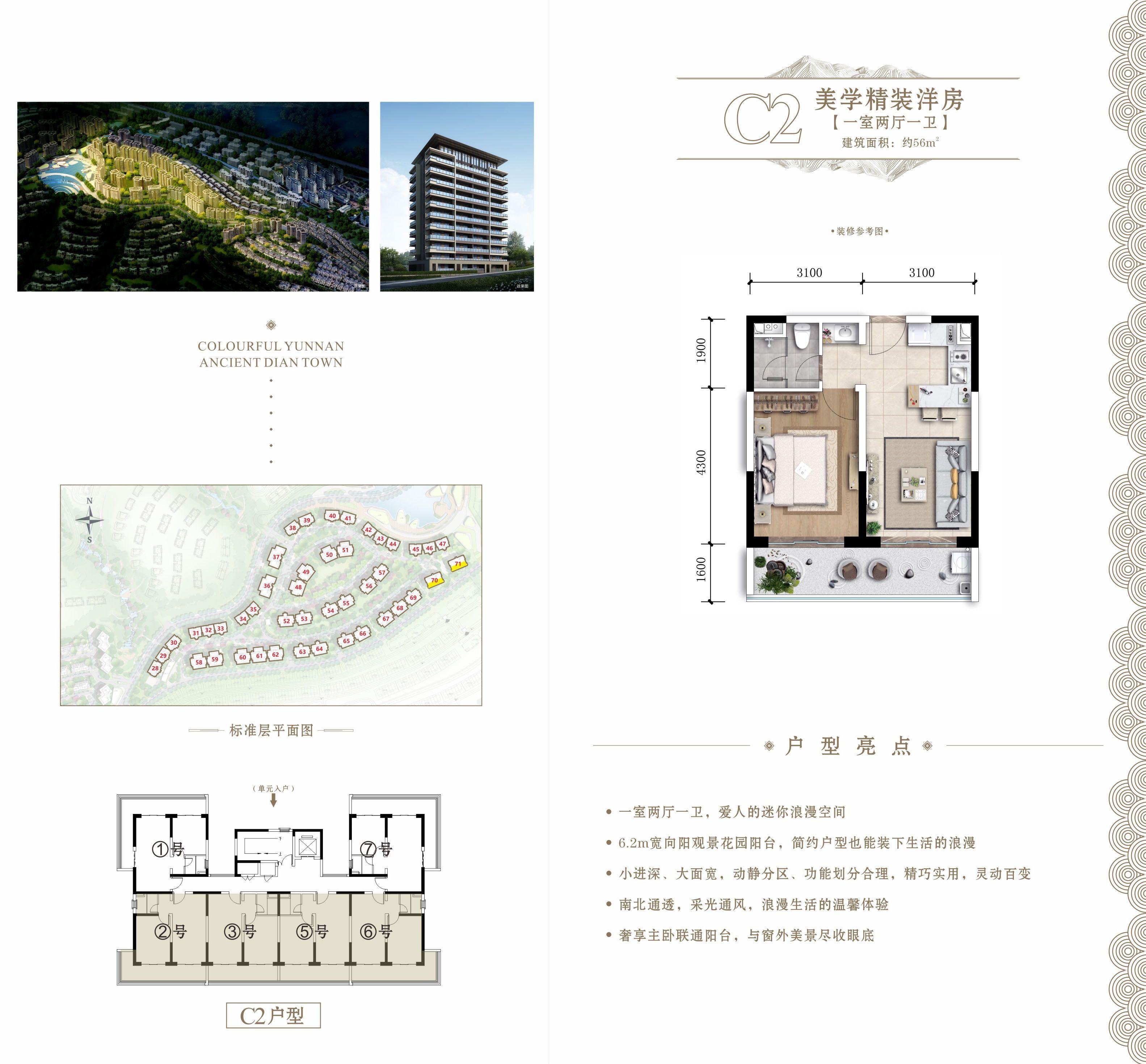 C2户型 1室2厅1卫 建筑面积:56㎡