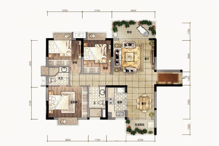 A1户型 3室2厅2卫1厨 建筑面积102.00㎡