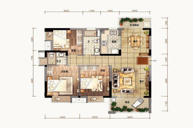 A户型 3室2厅2卫1厨 建筑面积102.00㎡