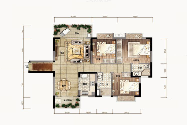 B1户型 3室2厅2卫1厨 建筑面积102.00㎡