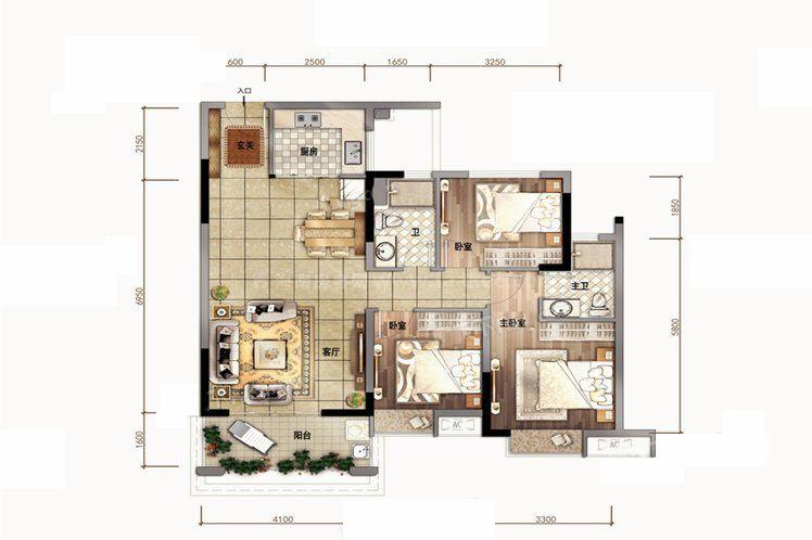 B户型 3室2厅2卫1厨 建筑面积104.00㎡