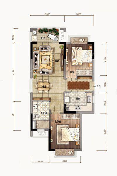 A01户型 2室2厅1卫1厨 建筑面积83.00㎡