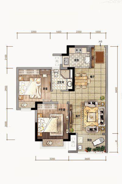A02户型 2室2厅1卫1厨 建筑面积79.00㎡
