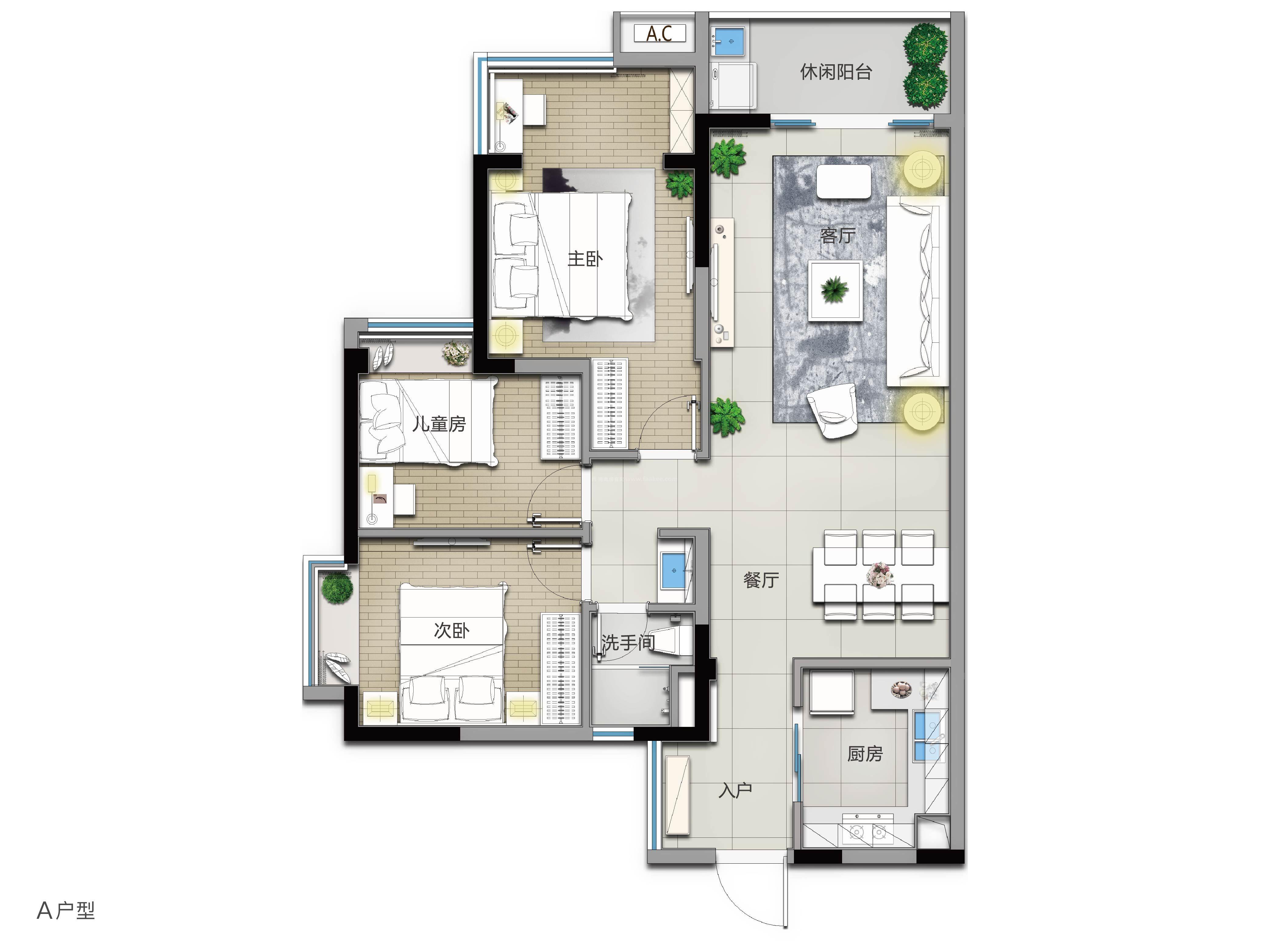 A戶型 3室2廳1衛 建筑面積:104㎡