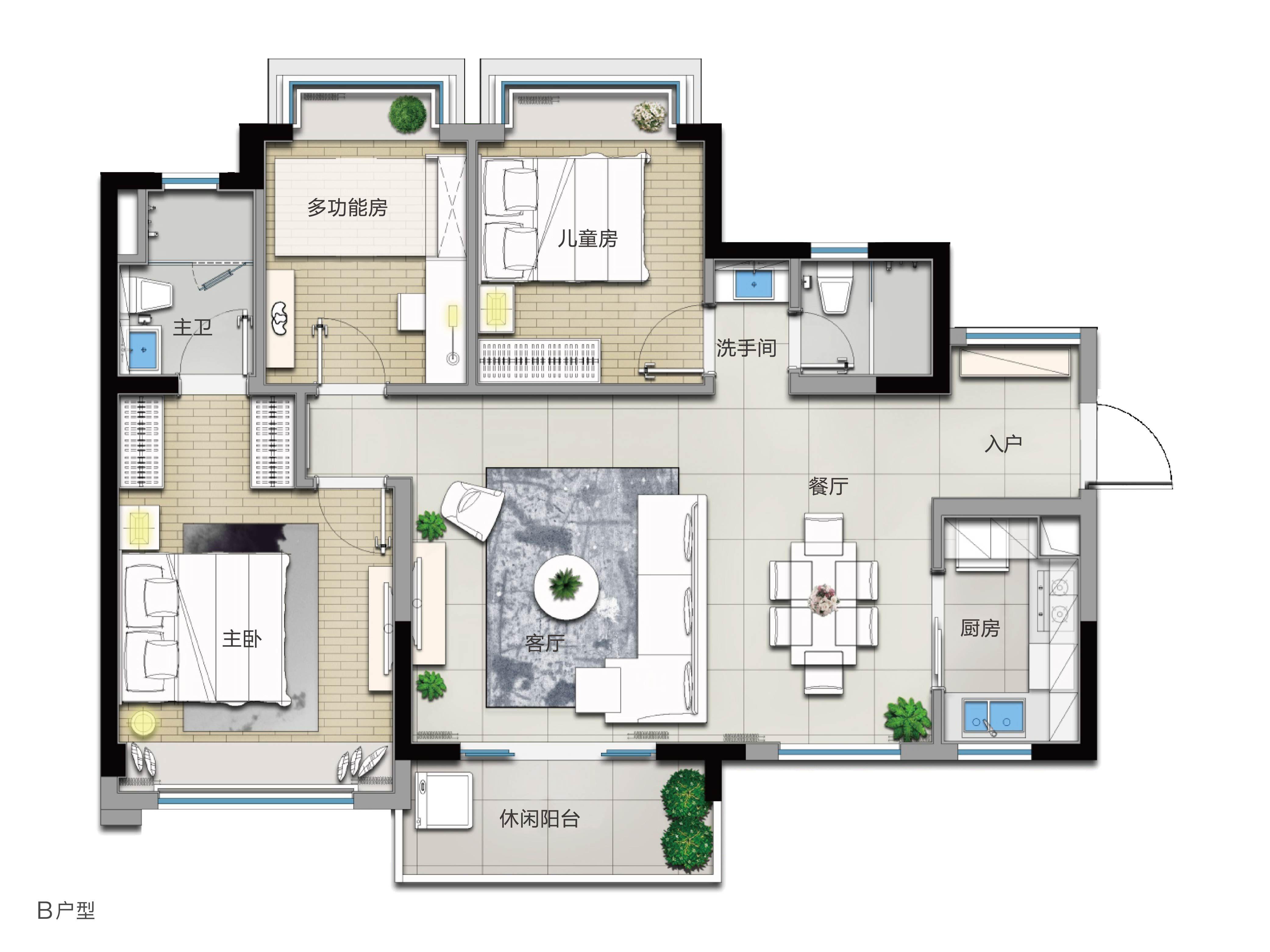 B戶型 3室2廳2衛 建筑面積:104㎡