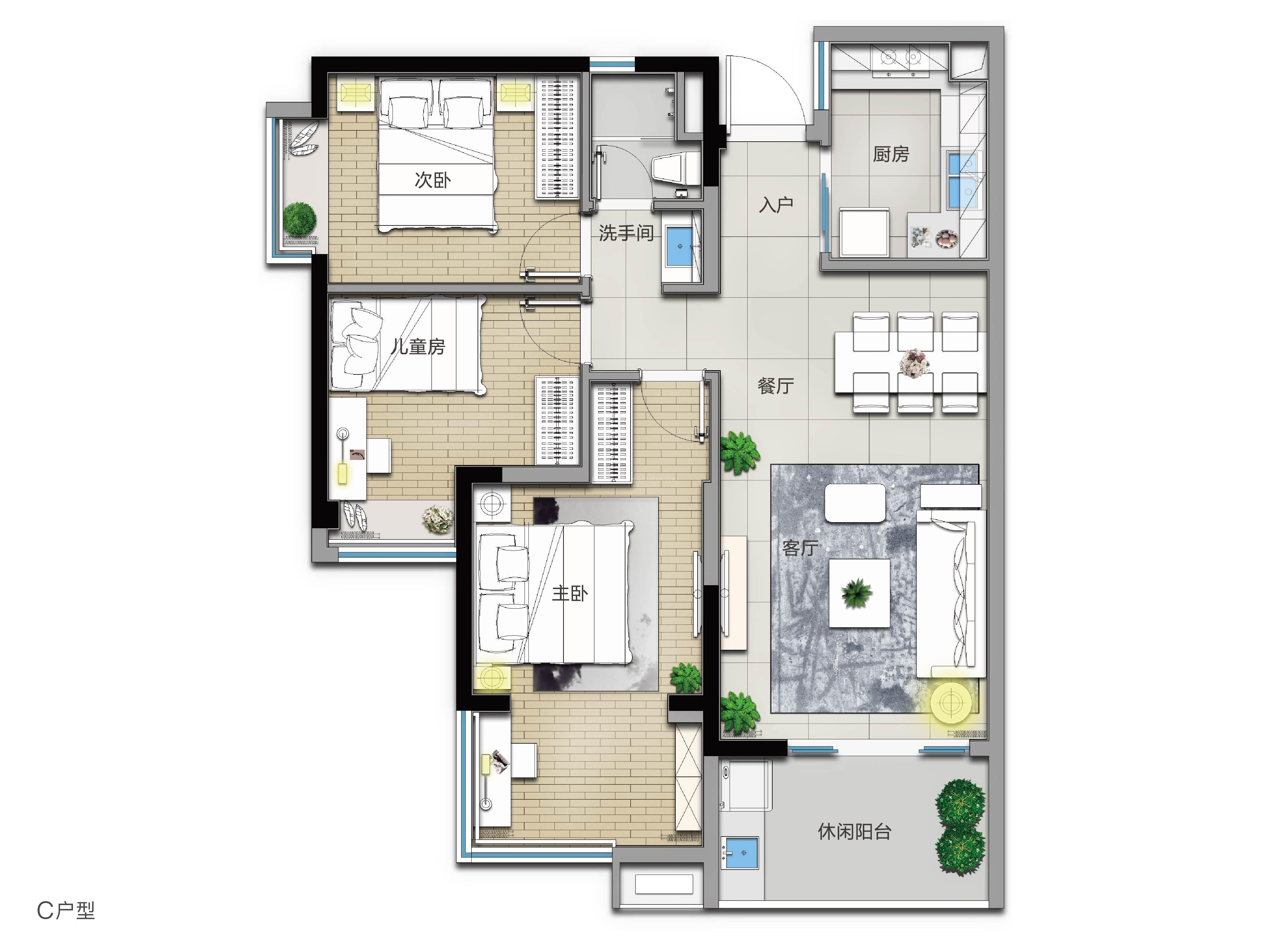 C戶型 3室2廳1衛 建筑面積:101㎡