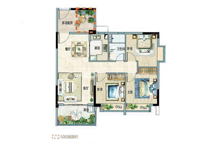 B组团3-6户型 3室2厅1卫 建面:95.25㎡