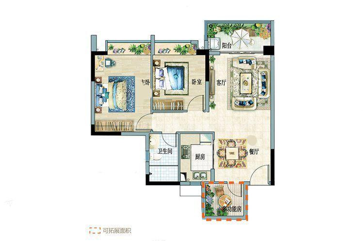 B组团1-2户型 2室2厅1卫 建面:80.58㎡