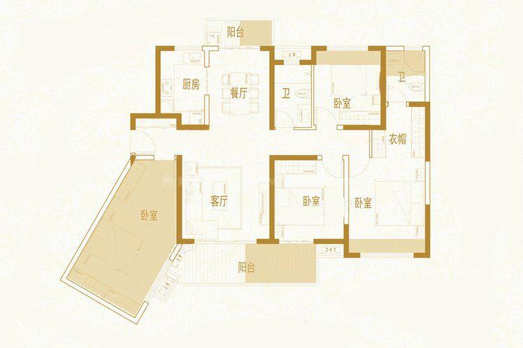 C4户型 4室2厅2卫1厨 建筑面积:127.26㎡