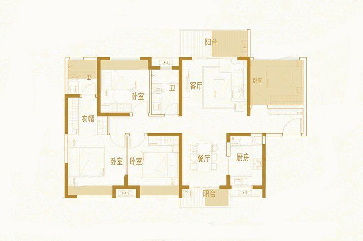 C6-2户型 4室2厅2卫1厨 建筑面积:128.45㎡