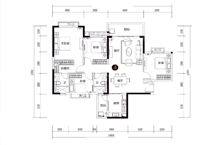 43#45#D户型 4室2厅2卫 建面146㎡