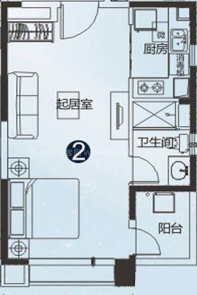 30#、31#户型 1室1厅1卫 建面48㎡