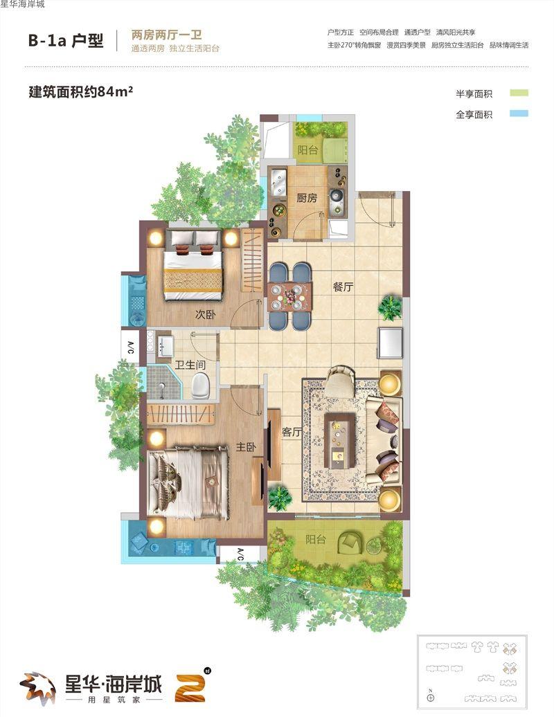 二期B-1a户型图 2室2厅1卫1厨  建筑面积84㎡