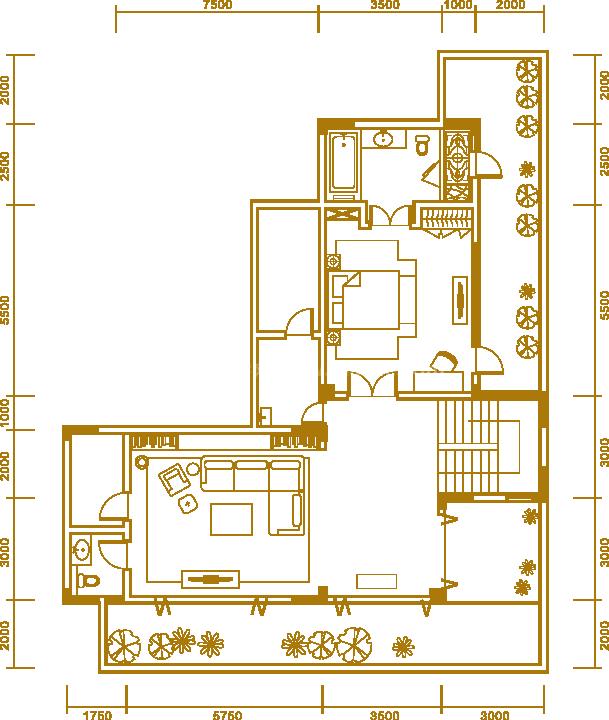 户型1地下室 两居室 建面236.77㎡