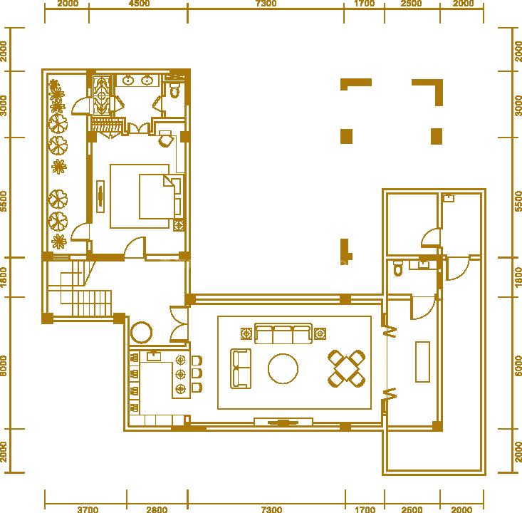 户型2地下室 三居室 建面362.25㎡