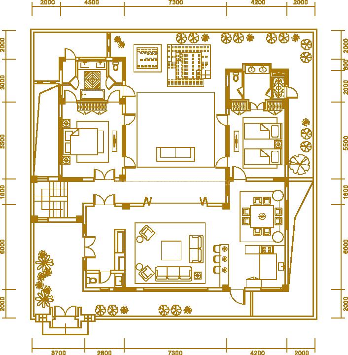 户型2一楼 三居室 建面362.25㎡