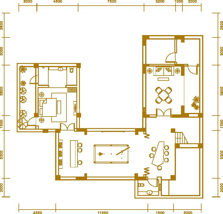 户型3地下室 三居室 建面347.50㎡