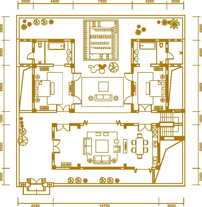 户型3一楼 三居室 建面347.50㎡