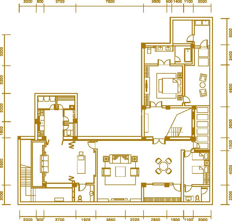 户型4地下室 三居室 建面563.42㎡