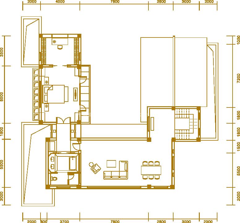 户型4二楼 三居室 建面563.42㎡