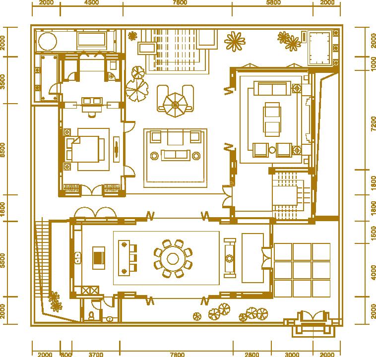 户型4一楼 三居室 建面563.42㎡