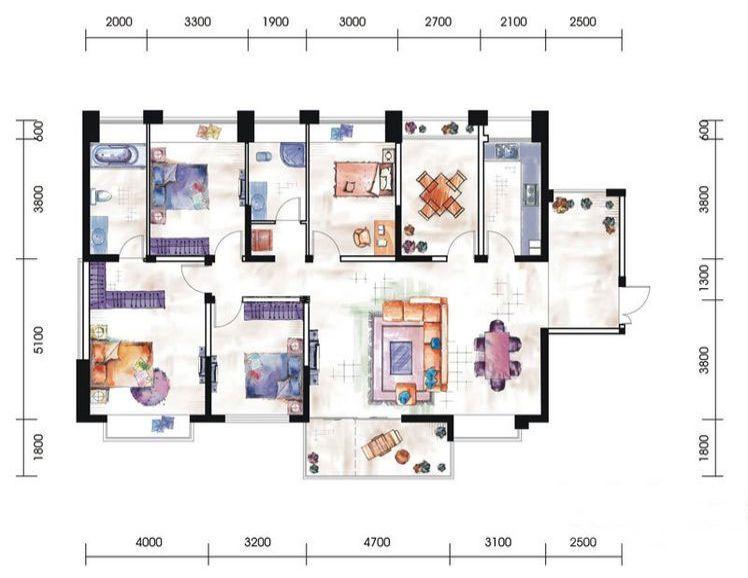 12# 13#01户型居室: 4室2厅2卫1厨 建筑面积:169㎡