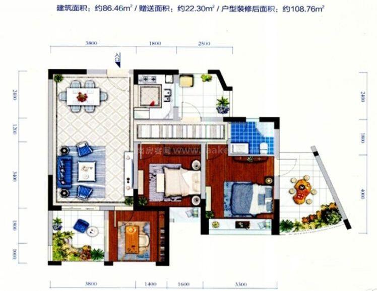 6栋02户型居室: 3室2厅2卫1厨 建筑面积:86.46㎡