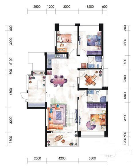 12# 13#03户型居室: 3室2厅2卫1厨 建筑面积:126㎡