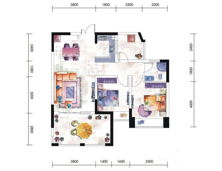 9# 10#户型居室: 2室2厅1卫1厨 建筑面积:89㎡