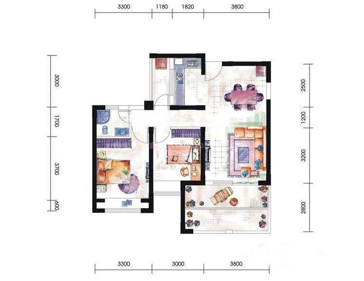 11#A5-B2户型居室: 2室2厅1卫1厨 建筑面积:90㎡