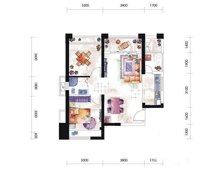 11#A1-B6户型居室: 1室2厅1卫1厨 建筑面积:89㎡