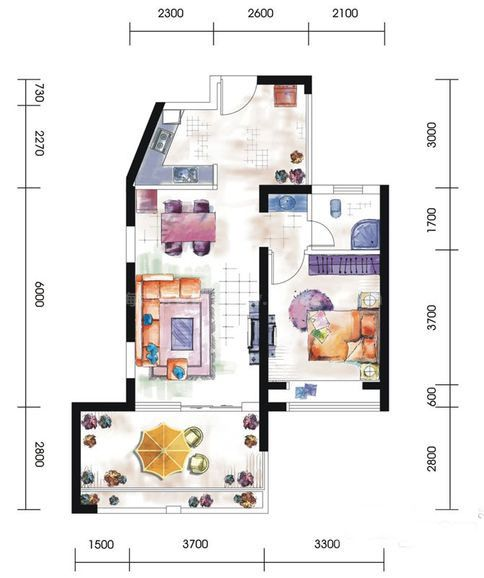 11#A3-A4户型居室: 1室2厅1卫1厨 建筑面积:72㎡