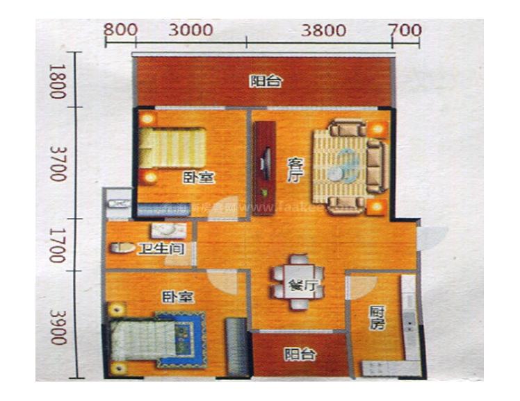 H3户型居室: 2室2厅1卫1厨 建筑面积:100.75㎡