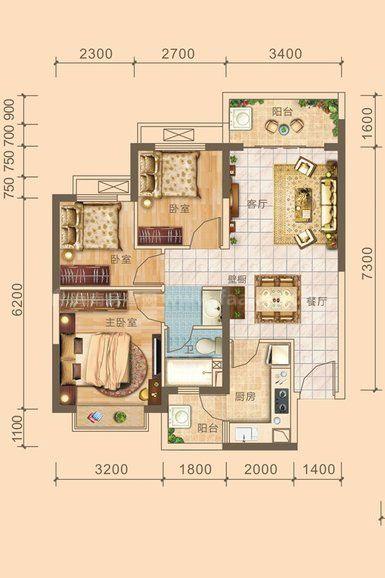 3#6#04户型居室: 3室2厅1卫1厨 建筑面积:85.8㎡