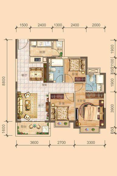 4#5#03户型居室: 3室2厅2卫1厨 建筑面积:101.08㎡