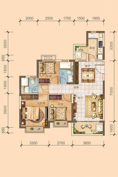 4#5#04户型居室: 3室2厅2卫1厨 建筑面积:101.48㎡