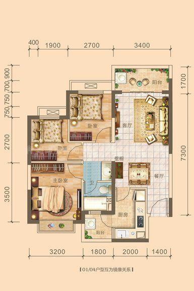 7#10#11#04户型居室: 3室2厅1卫1厨 建筑面积:89.31㎡